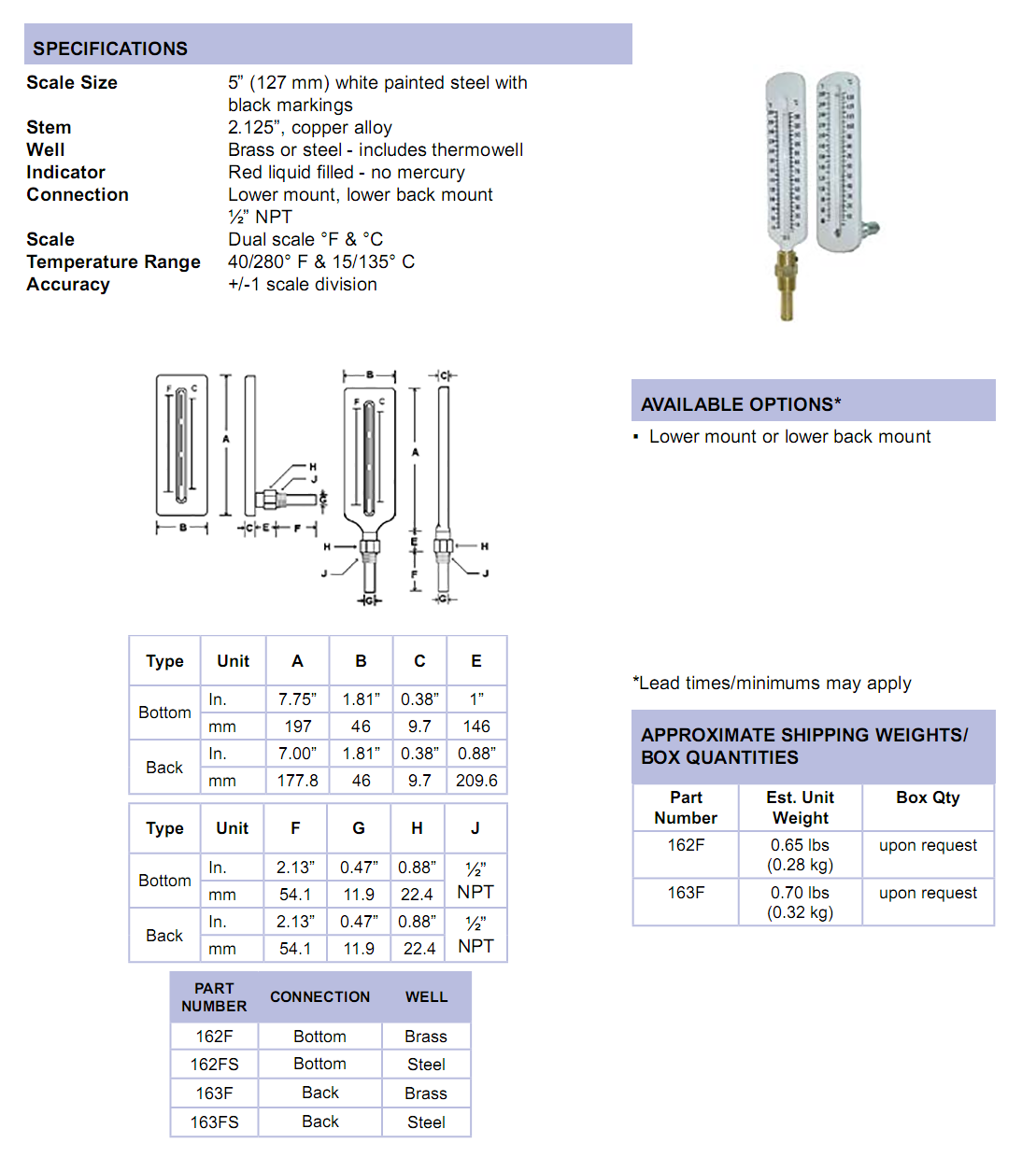 160-series-5-inch-scale-thermometer-specifications