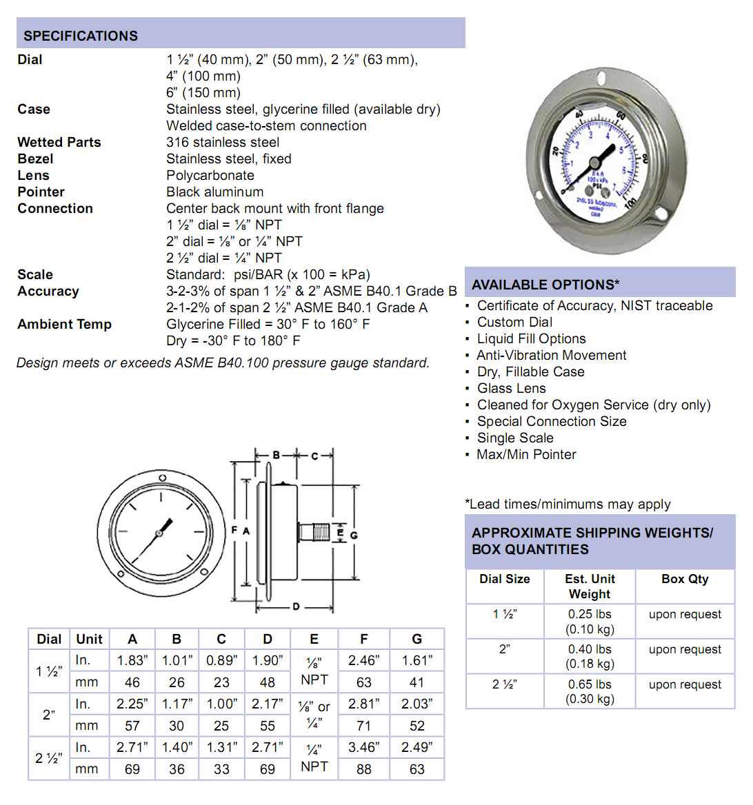 304lfw-all-stainless-front-flange-panel-mount-specifications