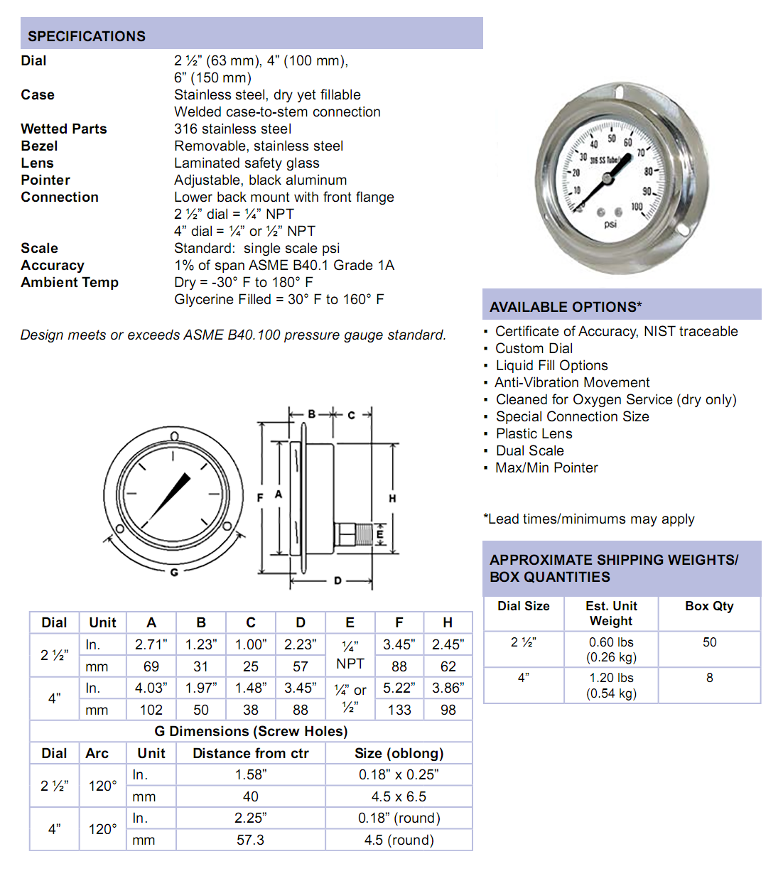 314d-all-stainless-steel-front-flange-panel-mount-specifications