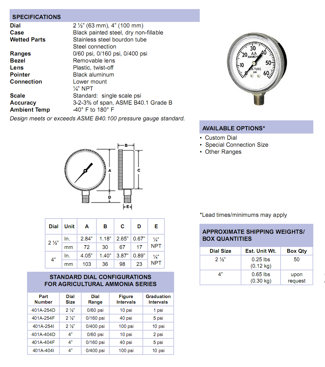 401a-series-agricultural-ammonia-gauge-specifications