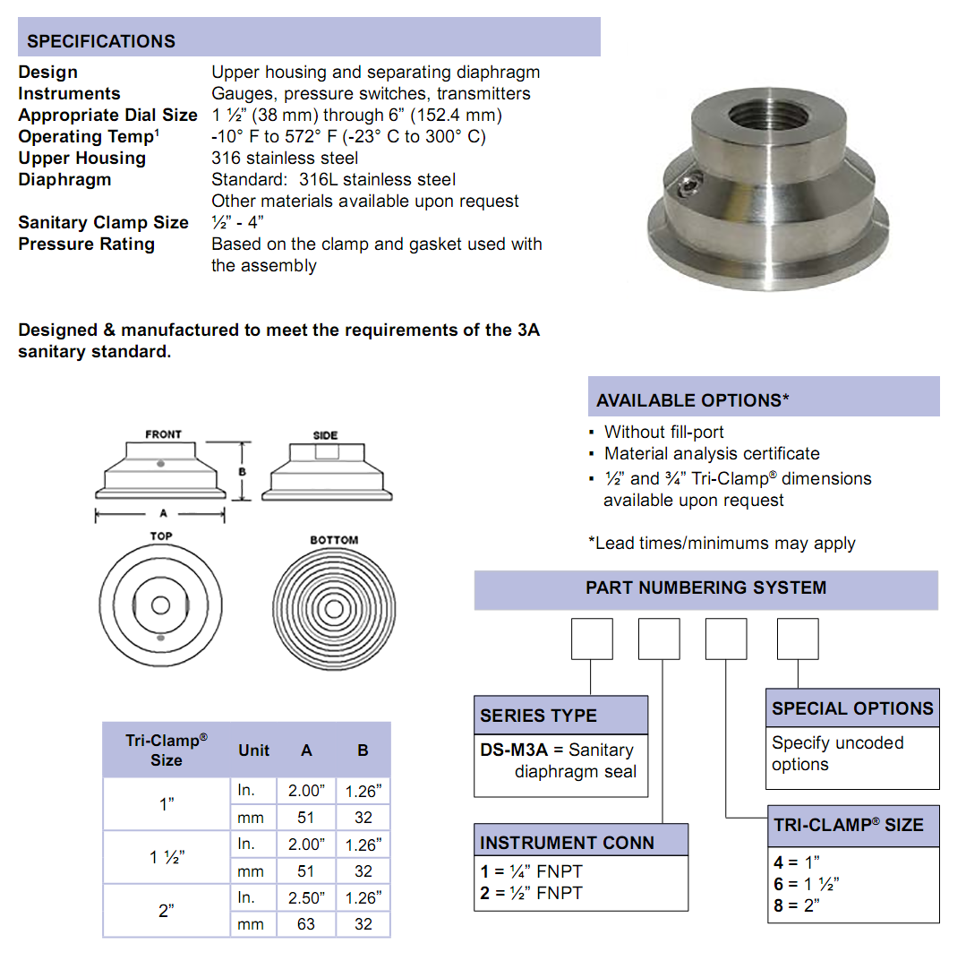 ds-m3a-sanitary-diaphragm-seals-specifications