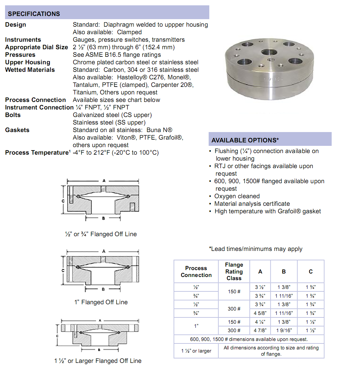 flanged-diaphragm-seal-specifications