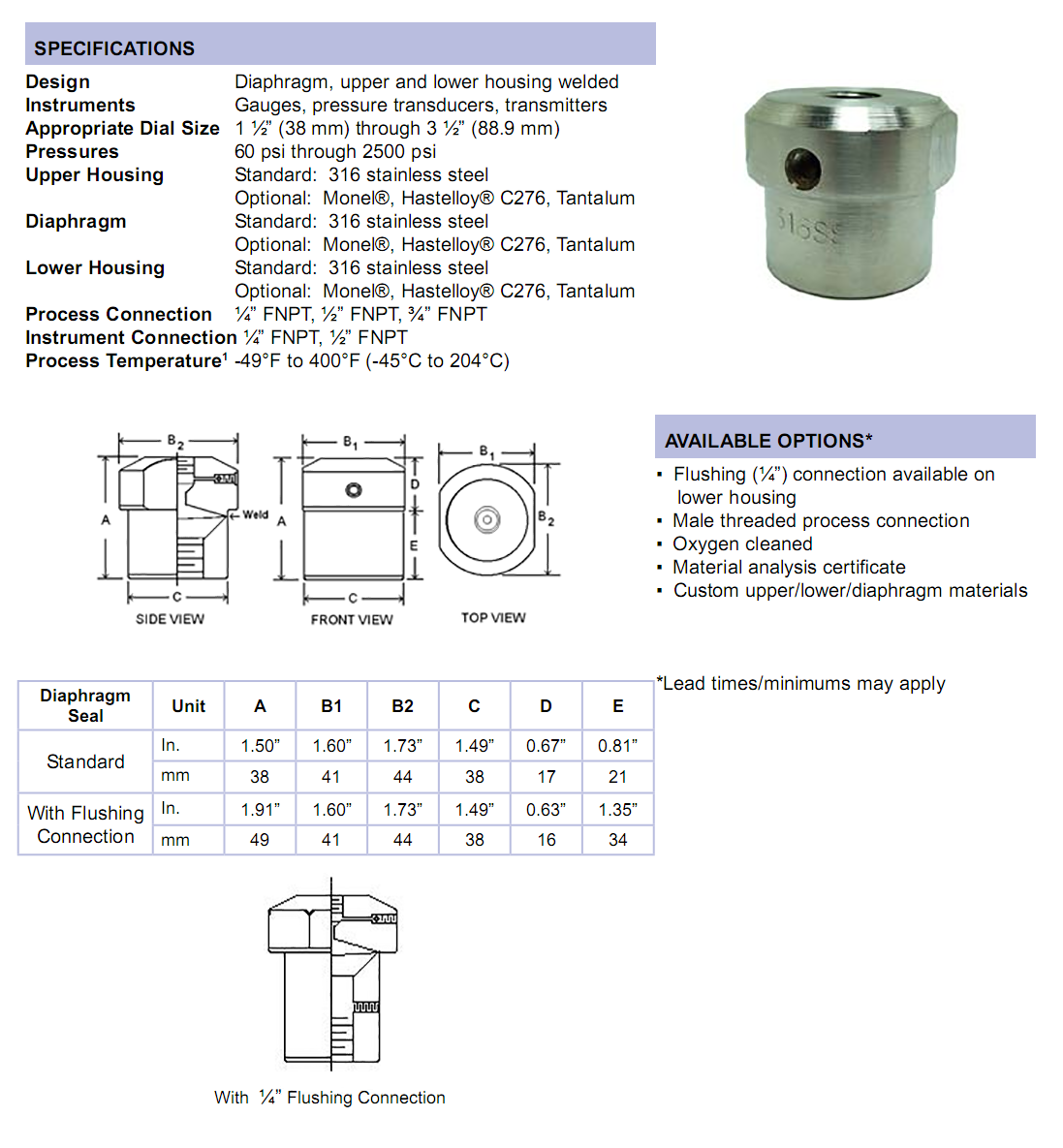m3500-series-mini-diaphragm-seal-specifications