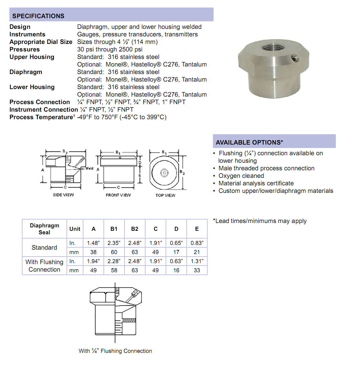 m4500-series-mini-diaphragm-seal-specifications