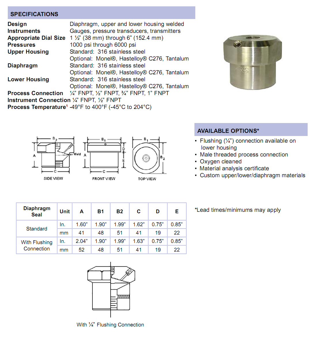 mhp-mini-high-pressure-diaphragm-seal-specifications