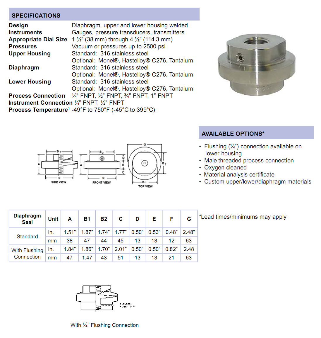 mlp-mini-low-pressure-diaphragm-seal-specifications