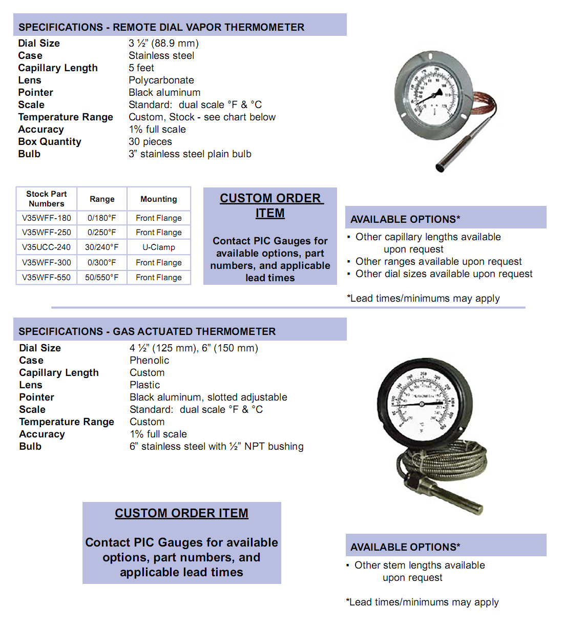 remote-dial-and-gas-actuated-thermometers-specifications