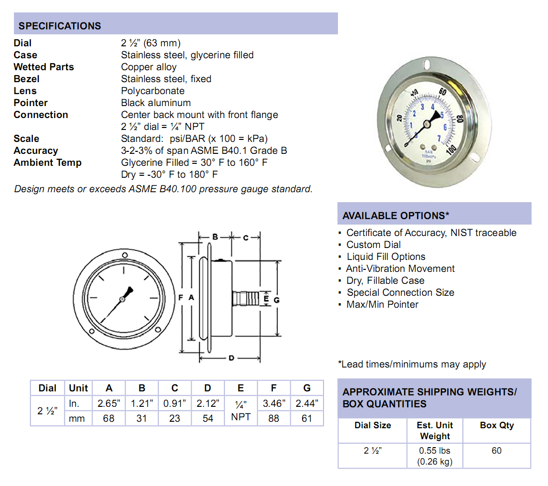 sec-204l-liquid-filled-front-flange-panel-mount-specifications
