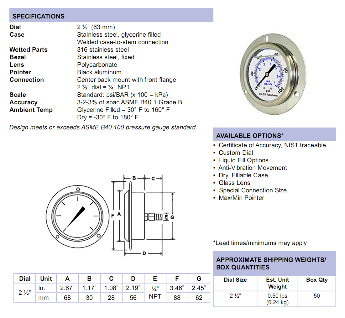 sec-304lfwl-all-stainless-front-flange-panel-mount-specifications