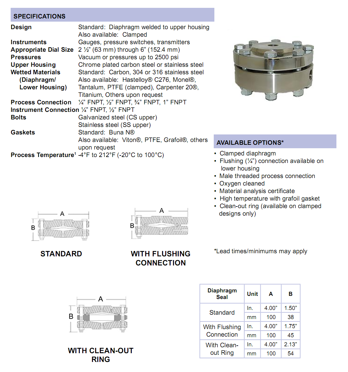 threaded-diaphragm-seal-specifications
