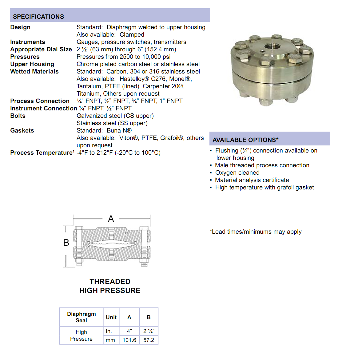 threaded-high-pressure-diaphragm-seal-specifications