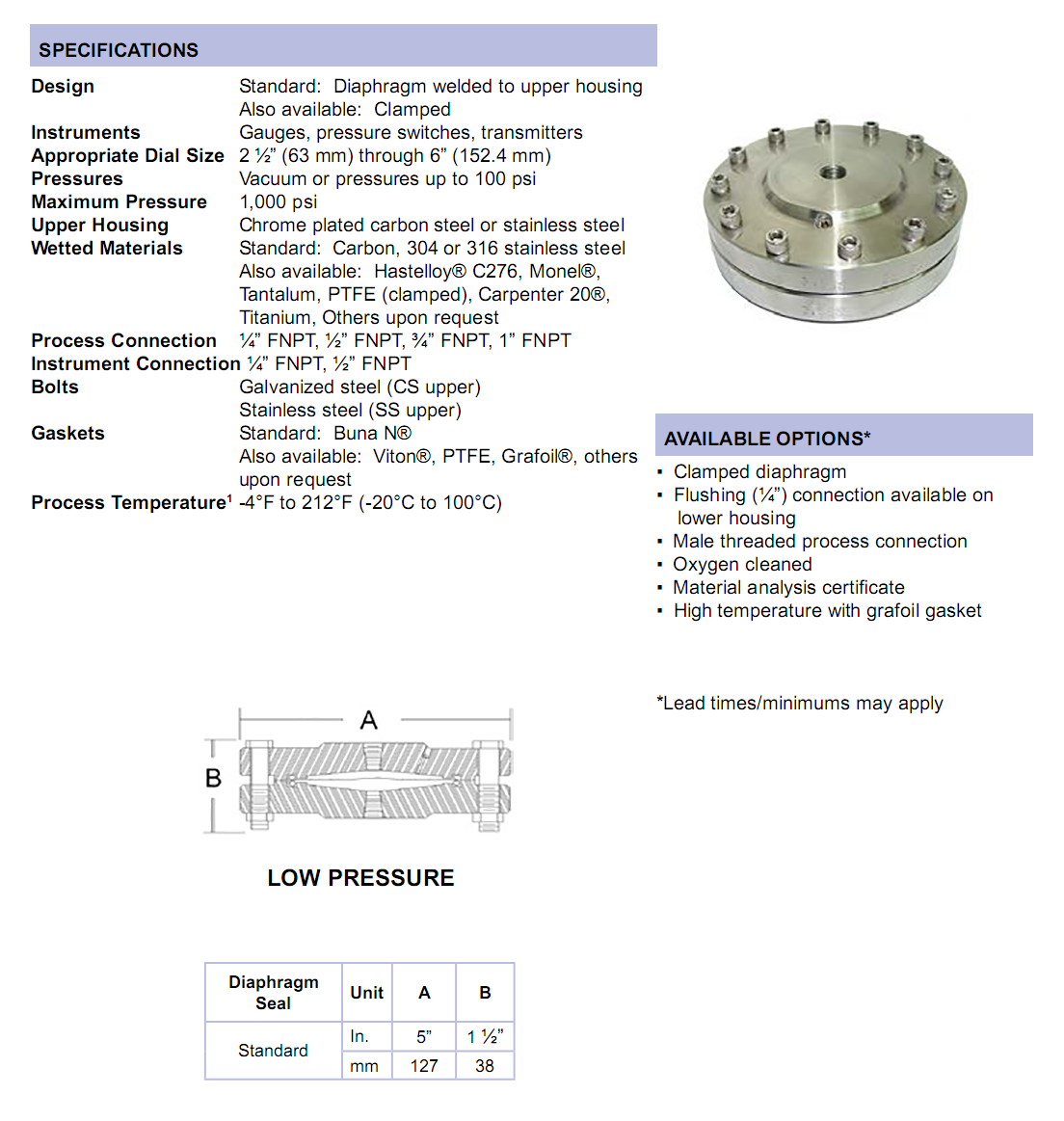 threaded-low-pressure-diaphragm-seal-specifications